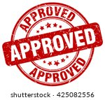 approved. stamp. red round... | Shutterstock .eps vector #425082556