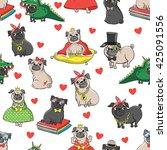 pugs characters princess  nerd  ... | Shutterstock .eps vector #425091556