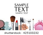 makeup brush and cosmetics on a ... | Shutterstock . vector #425103232