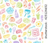 seamless pattern with picnic... | Shutterstock .eps vector #425124652