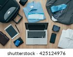 how to pack for a business trip ... | Shutterstock . vector #425124976
