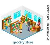 isometric interior of grocery...   Shutterstock . vector #425128306