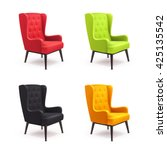 chair realistic icon set four... | Shutterstock .eps vector #425135542