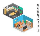 isometric interior of rooms in... | Shutterstock . vector #425138182