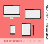 set of display  laptop  tablet... | Shutterstock .eps vector #425142982