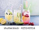variety of lemonade in mason... | Shutterstock . vector #425143516