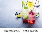 variety of cold drinks in small ... | Shutterstock . vector #425146195