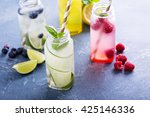 variety of cold drinks in small ... | Shutterstock . vector #425146336