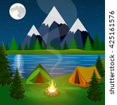 A Poster Showing A Campsite...