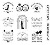 wedding set  dress  couple ... | Shutterstock .eps vector #425162155