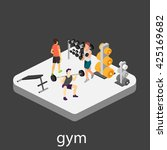 isometric interior of gym.... | Shutterstock .eps vector #425169682