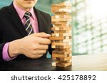 business risk concept with wood ... | Shutterstock . vector #425178892