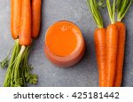 Carrot Juice In Glass And Fresh ...