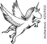 doodle sketchy pegasus  unicorn ... | Shutterstock .eps vector #42519313