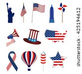 set of american icons on a... | Shutterstock .eps vector #425194612