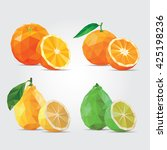 polygonal fruits. citrus fruits.... | Shutterstock .eps vector #425198236