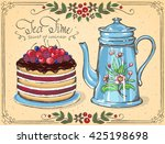 illustration tea time with... | Shutterstock .eps vector #425198698