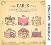 Set Of Hand Drawn Cakes. Baker...