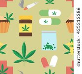 medical marijuana pattern.  | Shutterstock . vector #425213386