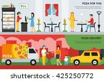 pizza for you and food delivery ... | Shutterstock .eps vector #425250772
