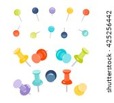 set of push pins in different... | Shutterstock .eps vector #425256442