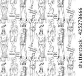 fashion pattern with words ... | Shutterstock . vector #425278666