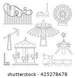 amusement park or funfair... | Shutterstock . vector #425278678