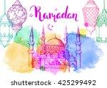 mosque at night. ramadan... | Shutterstock .eps vector #425299492