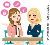 young girl gossiping boasting... | Shutterstock .eps vector #425306332