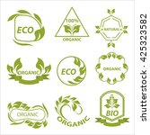 organic products  eco logo ... | Shutterstock .eps vector #425323582