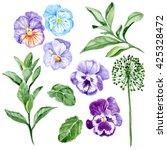 set of watercolor hand painted... | Shutterstock . vector #425328472