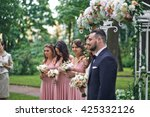 bridesmaids and just married... | Shutterstock . vector #425332126