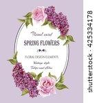 vintage floral greeting card... | Shutterstock . vector #425334178