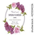 vintage floral greeting card... | Shutterstock . vector #425334226