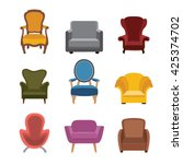 chairs and armchairs icons set. ... | Shutterstock .eps vector #425374702