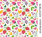 seamless pattern with hearts ... | Shutterstock .eps vector #425375878