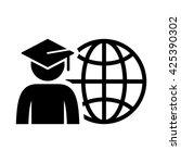 world graduating cap student... | Shutterstock .eps vector #425390302