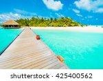beautiful tropical beach and... | Shutterstock . vector #425400562