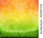 summer banner with grass border ... | Shutterstock .eps vector #425407732