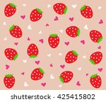 pattern with strawberries ... | Shutterstock .eps vector #425415802