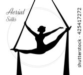 silhouettes of a gymnast in the ... | Shutterstock .eps vector #425417272