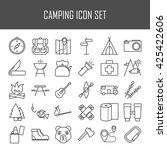 camping icons.  backpack  axe ... | Shutterstock .eps vector #425422606