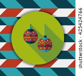 christmas ball flat icon with... | Shutterstock .eps vector #425424766