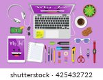 workplace flat lay  | Shutterstock .eps vector #425432722
