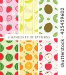 6 seamless fruit patterns | Shutterstock .eps vector #425459602