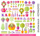 vector set of flowers and... | Shutterstock .eps vector #425462452