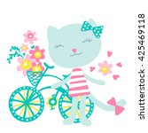 cat with a bicycle and flowers... | Shutterstock .eps vector #425469118