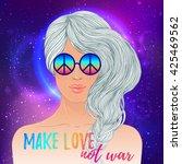 hippie fashion girl in... | Shutterstock .eps vector #425469562