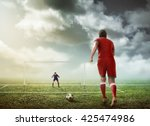 soccer player ready to execute...   Shutterstock . vector #425474986