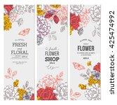 vintage peony flower banner... | Shutterstock .eps vector #425474992